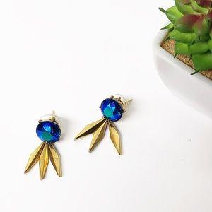 Upcycled Blue Aurora Borealis Fringe Earrings